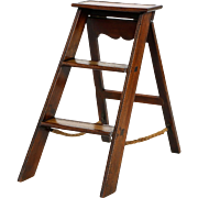 English Georgian Antique Library Ladder w/ Leather Steps, 19th Century