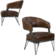 Pair of French Industrial Style Metal and Leather Arm Chairs