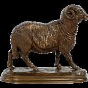 Isidore Bonheur Bronze Sculpture of Ram, Peyrol Foundry c. 1870