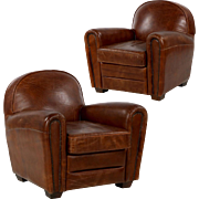Pair of Art Deco Style Worn Leather Club Chairs, Late 20th Century