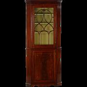 Small George III Antique Corner Cabinet in Inlaid Mahogany, England c. 1780