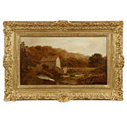"Exceptional Landscape Painting by Robert Gallon, ""The Sawmill"", 19th Century"