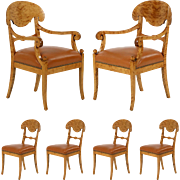 Set of Six Biedermeier Style Leather and Birch Dining Chairs, 20th Century