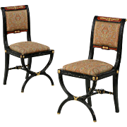 Pair of Napoleon III Side Chairs, Early 20th Century