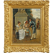 Charles Louis Kratke (French, 1848-1921) Antique Oil Painting of Courtship, Signed