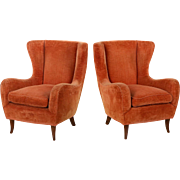 Pair of Vintage Mid-Century Modern Club Arm Chairs, probably Italian