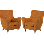 Pair of Vintage Mid-Century Modern Italian Sculpted Lounge Arm Chairs