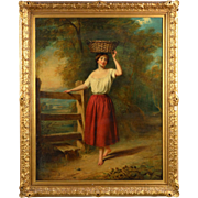 British School Antique 19th Century Oil Painting on Canvas, Young Girl on Path