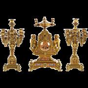 Egyptian Revival Bronze Mantel Clock and Candelabra c. 1870