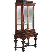 Exceptional English Antique Rococo Display Cabinet Vitrine, 19th Century