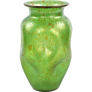Art Nouveau Green Art Glass Vase attr. Loetz