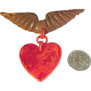 Bakelite Dangling Red Sweetheart Valentine Heart Charm from Wood Wings Pin Brooch