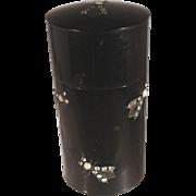 Rare Black Celluloid Dresser Trinket Vanity Jar Decorated with Imitation Pearls & Rhinestone .