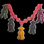 Bakelite 5 Little Men Coolies Asian Charm Pendants Necklace