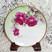 """SALE Richard Ginori Italy Hand Painted Ruby Roses  7.75"""" Plate Signed G. Barig"""