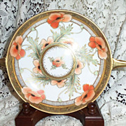 """SALE Antique Nippon RC Hand Painted  7.25"""" Handled Bowl w/ Poppies Beautiful Gold Embelli"""