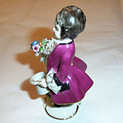 SALE Frankenthal German  Dresden Art Lace Hand Painted Figurine