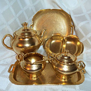SALE 8 Piece Pickard AOG Gold Floral Daisy Pattern Teapot Sugar Creamer Tray Divided Dish ...