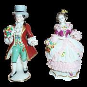SALE Frankenthal German  Dresden Art Lace Hand Painted Figurines Gentleman & Lady Friedric