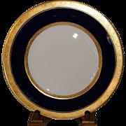 """SALE Hutschenreuther Selb Bavaria Cobalt Blue Gold Encrusted Border Trim 10 3/4"""" Plate"""