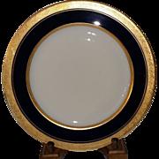 SALE Limoges France Cobalt Blue with Gold Encrusted Rim 10 5/8 inch Porcelain Plate