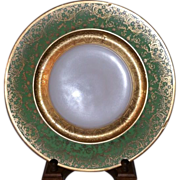 SALE Selb Bavaria 11 inch Green Porcelain Plate with Gold Encrusted floral Cartouche design