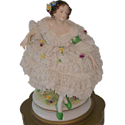REDUCED Two Aelteste Volkstedter Volkstedt German Dresden Lace Lady Figurine 26 inch Lamps