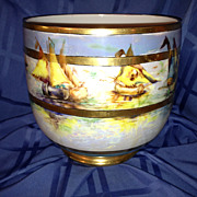 SALE Guerin Limoges Jardiniere with Handpainted Sailboats Gold & Lustre Signed Jennings