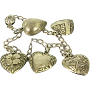 Victorian 1800's Forget Me Not Heart Charm Bracelet