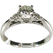 18k White Gold Natural .75ctw Round Cut SI-2/H Diamond Ring