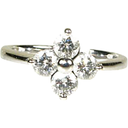 14k White Gold Natural .75ctw Round Cut VS/GH Diamond Cluster Ring