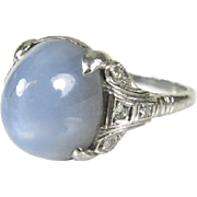 RARE Antique PLATINUM 4ct Natural 6 Ray Blue Star Sapphire and Diamond Ring