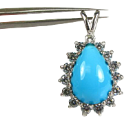 5ct Pear Cut Turquoise and 1ctw VVS/EF Diamond 14k White Gold Pendant