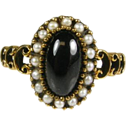 Victorian 1800's 9k Yellow Gold 1ct Cabochon Purple Stone and Seed Pearl Ring