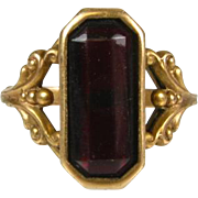 Antique Victorian 1ct Fancy Cut Natural Dark Garnet 14k Rose Gold Ring.