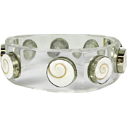 Vintage Lucite Bangle with Shive Eye Gems that is Circa 1960's