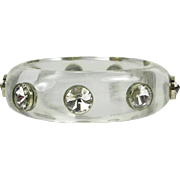 Vintage Lucite Bangle with White Quartz Gems that is Circa 1960's