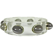 Vintage Lucite Bangle with Moonstone Gems that is Circa 1960's
