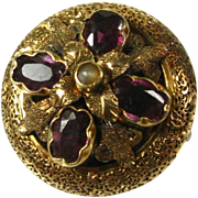 Victorian Natural Amethyst and Moonstone 14k Yellow Gold Floral Pin Brooch