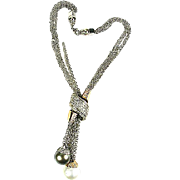 High End 12-15mm South Sea Pearls & 1ctw Natural Diamond 18k 2 Tone Necklace