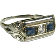 Antique Art Deco 18k White Gold .36ctw Natural Diamond and Blue Sapphire Ring