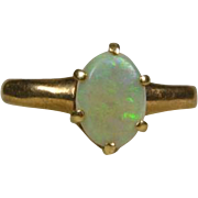 Early Antique Victorian 1800's 14k Yellow Gold 1ct Natural Oval Cut Opal Solitaire Ring