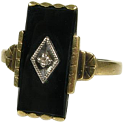 Antique Victorian 10k Yellow Gold 3ct Natural Fancy Cut Black Onyx and Diamond Ring