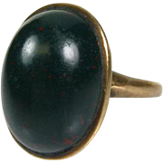Antique Early Victorian 10k Yellow Gold 10ct Natural Cabochon Bloodstone Solitaire Ring