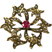Antique Victorian 1800's 10k Yellow Gold 15pt Ruby and Seed Pearl Floral Pin Brooch