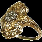 Antique Edwardian .07ctw Natural Round Cut Diamond 10k 2 Tone Gold Floral Filigree Ring