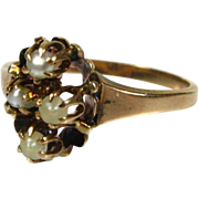 Antique Early Victorian Gorgeous 10k Yellow Gold 4 Seed Pearl Ring