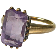 Victorian 1800's 10k Yellow Gold 3ct Natural Emerald Cut Amethyst Solitaire Ring