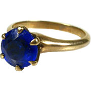 Antique Victorian 10k Yellow Gold 2ct Round Cut Blue Stone Solitaire Ring