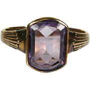 Early Antique Victorian 14k Rose Gold 3ct Genuine Fancy Cut Amethyst Solitaire Men's Ring